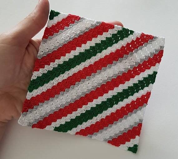 Crochet Pattern Christmas Stripy Blanket Christmas Crochet Etsy
