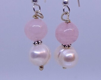 Rose quartz, pearl, sterling silver earrings.