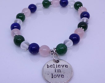 Rose quartz, lapis, jade and sterling silver with metal charm. Healing  bracelet.