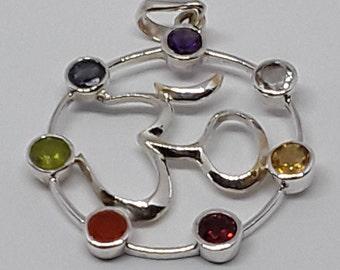 Sterling silver Om chakra pendant