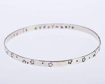 Inspiring Bangle, Silver Handstamped Bracelet, Bangle Bracelet , Sterling Silver Bracelet, Motivational Handstamped Message,  Love message