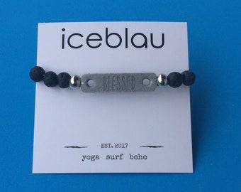 Bracelet Olowalu - made of lava stone beads