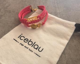 Bracelet Waikiki-suede bracelet with pendant pineapple & love
