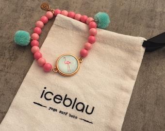 Bracelet Miami-Pearl bracelet with flamingo & tassel Pendant