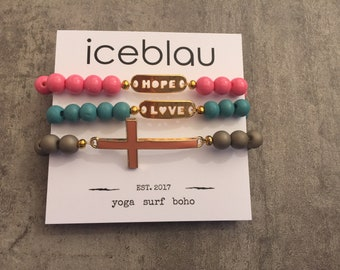 Bracelets Faith, love, hope-bead Bracelets