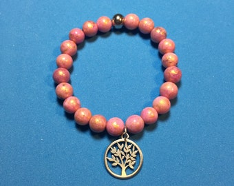 Pearl bracelet made of  natural stone beads with pendant tree of life
