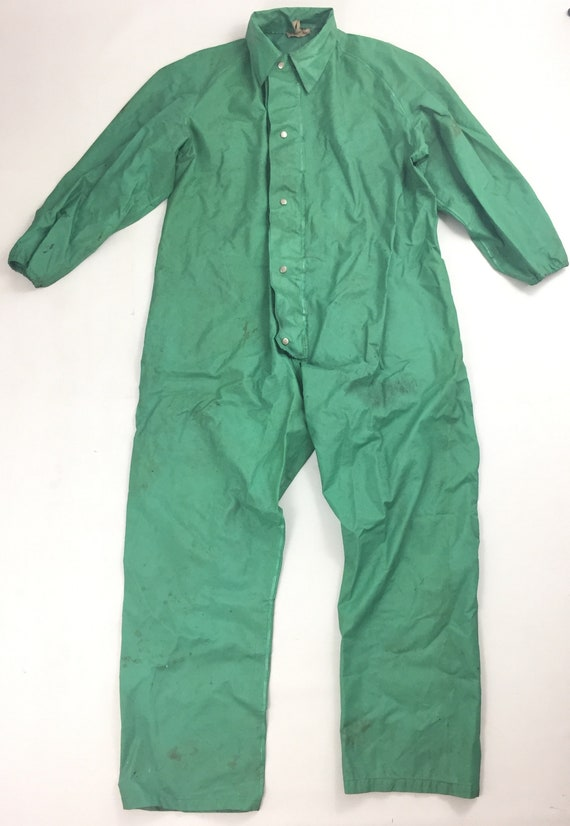 Original 1970s Green PVC Workwear Overalls by 'Nor