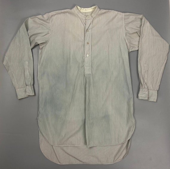 Original 1950s Men's Collarless Pinstripe Shirt