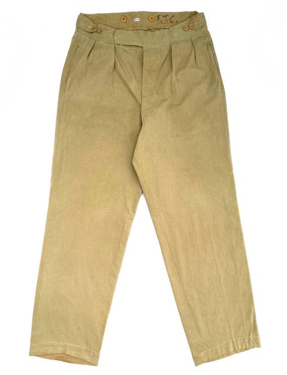 Original 1940s Theatre Made Khaki Drill Trousers