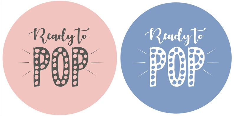 Baby Shower 70 x Ready To POP Stickers 35 x Blue and 35 x Pink Circular Stickers A4 Sheet Perfect for TWINS and Gender Reveal PARTIES!