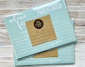 Baby Shower Predictions & Advice for Parents-to-be Gender Neutral Mint Cards - the perfect keep-sake for the mummy-to-be! Baby Shower Games!