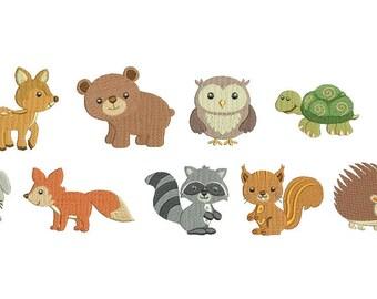 Woodland Baby Animals EMBROIDERY Set Fill Design Machine Deer Bear Fox Rabbit Owl Beaver Raccoon Embroidery Instant Download EN2095F