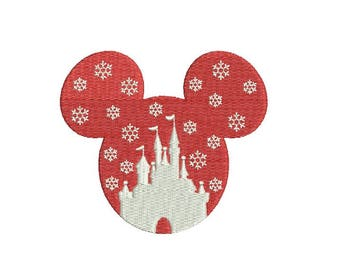 25 Sizes Walt Disney Castle Head Ears Snowflake Mickey Christmas Snow Flakes Design Embroidery Fill Machine Instant Download EN2132FA1