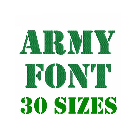 30 Sizes Army Stencil Alphabet Font Embroidery Design Fill Etsy