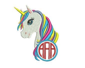 Unicorn Head Monogram Frame Design Embroidery Fill Design Machine Embroidery Instant Download Digital File EN2019FMN
