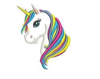 Unicorn Head Applique Design Embroidery Design Fill Design Machine Embroidery Instant Download Digital File EN2019E1