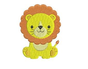 Jungle bébé animaux Lion broderie remplissage Design Lion Mini Machine à broder le téléchargement immédiat EN2024F1