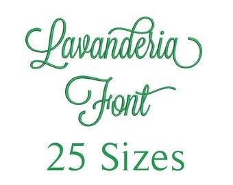 25 Sizes Lavanderia Script Embroidery Font Design Embroidery Fill Machine Instant Download Digital File END025