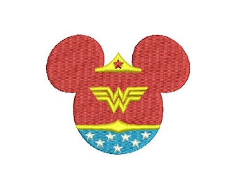 Disney Mickey Minnie Mouse Head Wonder Woman SuperHero EMBROIDERY Design Super Hero Fill Design Machine Instant Download EN2039F5