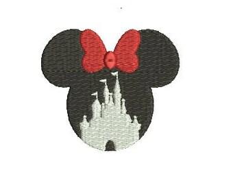 Walt Disney World Castle Minnie Mouse Ears Small Mini Design Embroidery Embroidery Fill Machine Instant Download Digital File EN2166F2