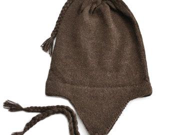 f9fe2a6643f 100% Alpaca Wool Knit Chullo Earflap Hat ~ Brown Women Men Accessory ~ One  Size