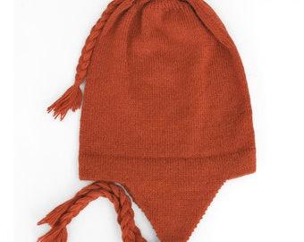 ff2a295caf5 100% Alpaca Wool Chullo Earflap Hat ~ Orange Women Men Accessories ~ One  Size