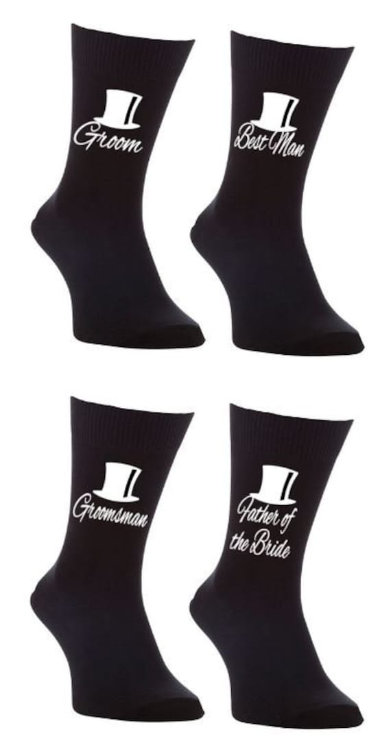 Groom top hat print wedding bridal party socks//gift//favour//stag night