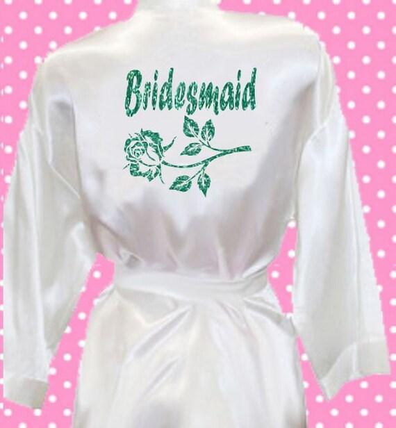 Glitter Bridesmaid sparkle print silk satin style kimono robe  bfc4f876b5c2