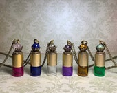 Mix match distressed gold tone rollerball bottle, essential oil vial, roller ball necklace, precious oil keeper