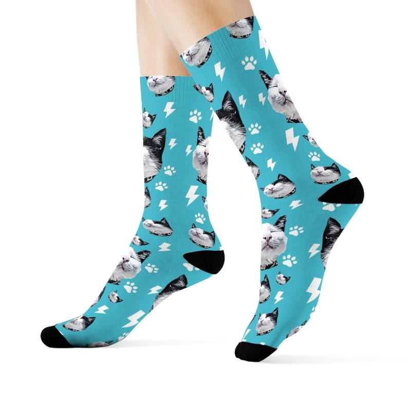 Custom Cat Socks Personalized Cat Socks Cat Mom Socks Gift image 1
