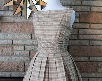 ON SALE! Vintage 1950s Brown Plaid Dress with Matching Bolero / 50s Jonathan Logan Dress XS Small