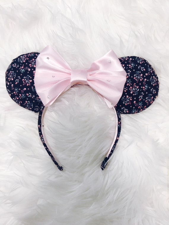 a04f7358b Black and Pink Floral Mickey Ears with Swarovski Crystals | Etsy