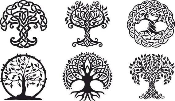 Vektor Verzierung Dekorative Keltischer Baum Des Lebens Etsy