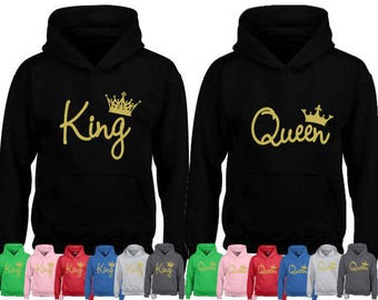 King & Queen Embossed Black Hoodies Twin Pack. Cute Couples Matching Goals Novelty Chill Relationships Gifts for her His Hers Mr HZtAsP5ND