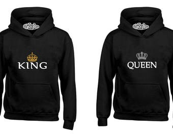 Couple Hoodies King and Queen Crown Couples Cute Matching Love Couples Valentine's Day Gift