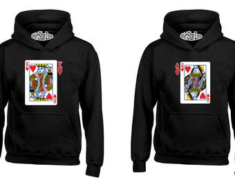 Couple Hoodies King and Queen Playing Cards Couples Cute Matching Love Couples Valentine's Day Gift