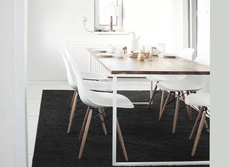Modern Scandinavian Dining Table BASIC TRE, Handmade Modern Table, White  Steel Frame Kitchen Table, Solid Oak Wood Top, Nordic Style Design