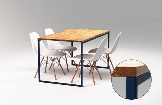 Modern Dining Table Sapphire Blue Steel Frame Dark Blue Industrial Kitchen Table Oak Dining Table Oak Table Top No Overhang Basic Blue Ii