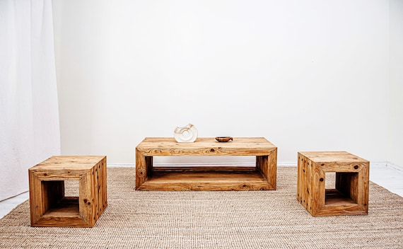 Living room set TRÄHUS, Modern rustic coffee table and 2 stools/ side  tables, Solid wood, Handmade live edge and glass top coffee tables