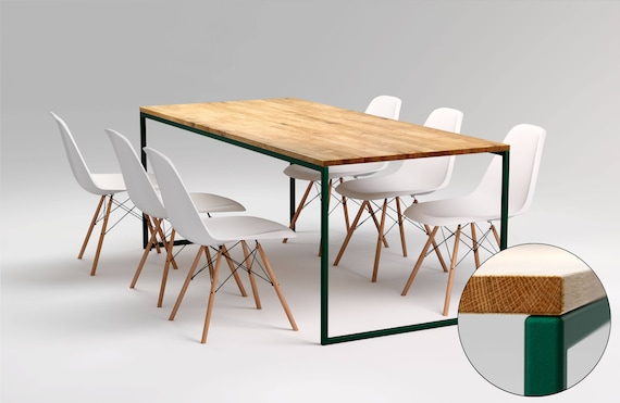 Modern Steel Frame Dining Table Basic Green Ii Industrial Etsy