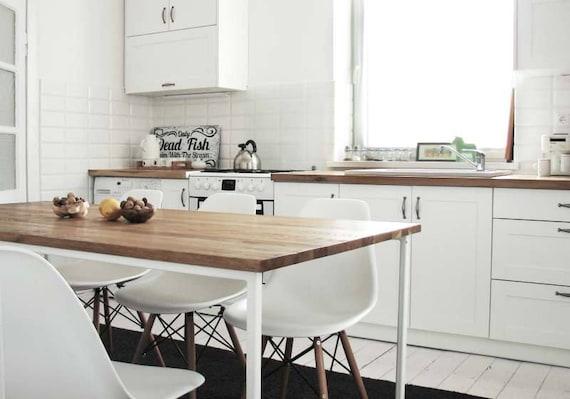 Mesa de cocina moderna BASIC TRE 160x80cm, Diseño minimalista, Mesas de  comedor ecológicas, Base de metal blanco, Mesa de comedor de madera