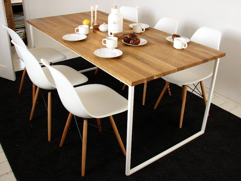Beau Scandinavian Dining Table BASIC TRE, Handmade Modern Table, White Steel  Frame Kitchen Table, Solid Oak Wood Top, Nordic Style Design