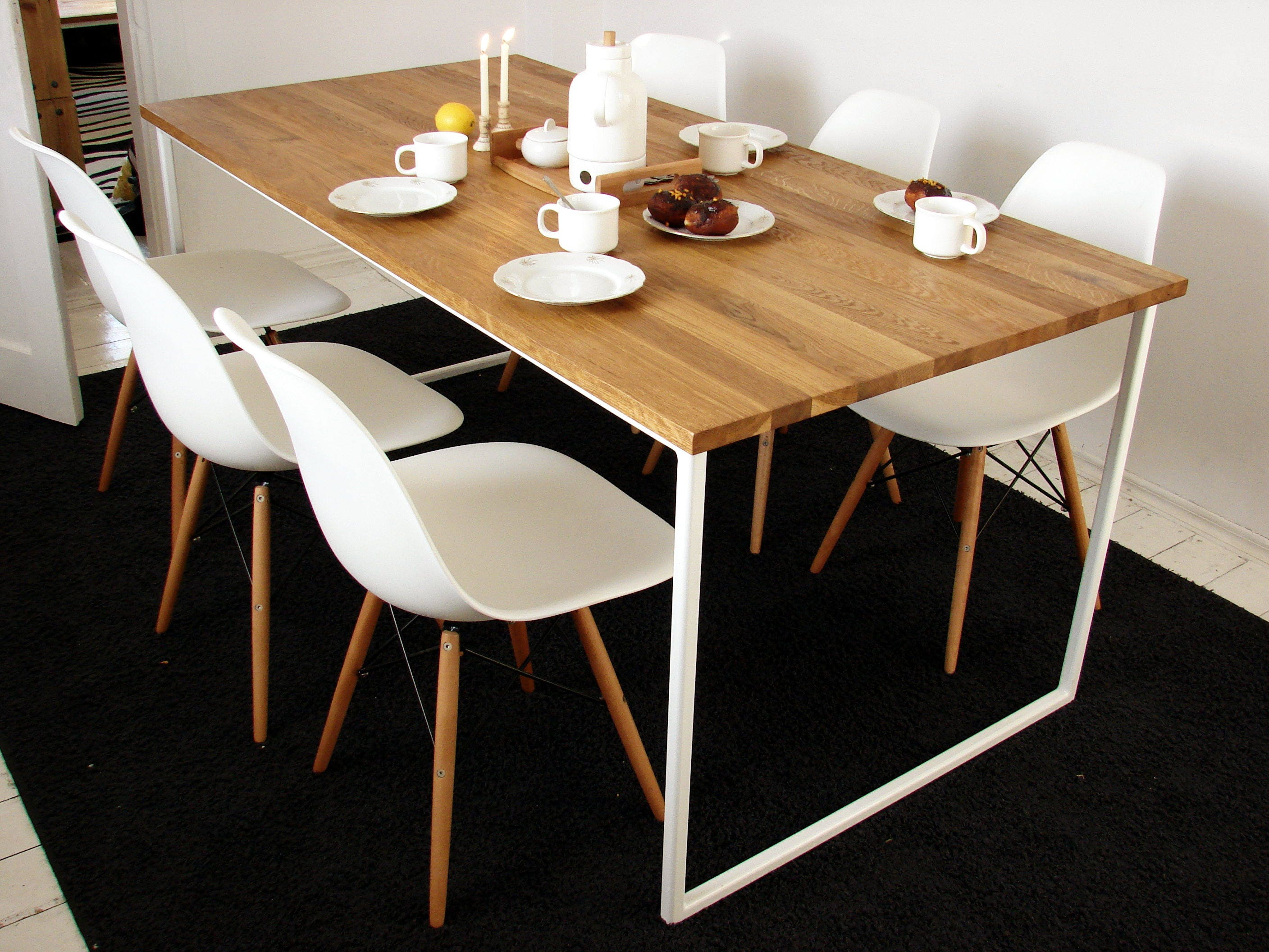 Scandinavian Dining Table Basic Tre Handmade Modern Table White Steel Frame Kitchen Table Solid Oak Wood Top Nordic Style Design