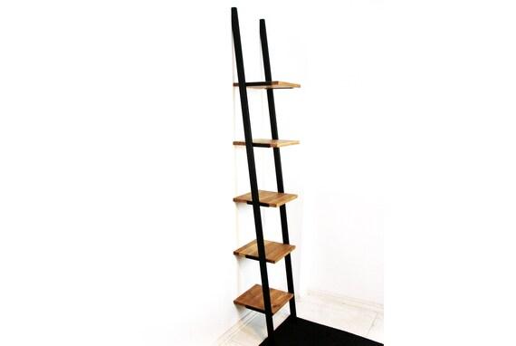 Leiter Bücherregal Regal Buchleiter Modern Hohes Industrielles Leiter Bücherregal Smukke Black 34x31x209cm Schwarz Stahlrahmen Massives Holz