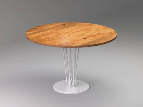 Mesa de comedor redonda ELVA WHITE, Modernas mesas hechas a mano para  comedor y cocina, Mesa de madera maciza de roble y acero blanco