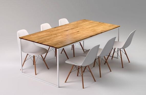 Mesa nórdico BASIC TRE II, Mesas de comedor minimalistas, Mesa de cocina  moderno de acero blanco, Mesa de comedor de madera maciza y metal