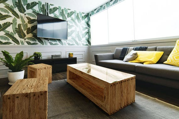 Miraculous Living Room Set Trahus Modern Rustic Coffee Table And 2 Stools Side Tables Solid Wood Handmade Live Edge And Glass Top Coffee Tables Theyellowbook Wood Chair Design Ideas Theyellowbookinfo