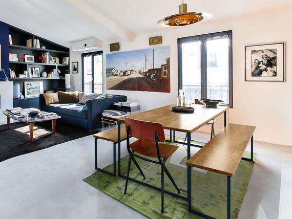 Dark Blue Steel Frame Dining Table And Bench BASIC BLUE Modern