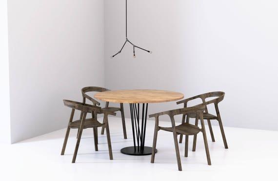 Mesa de comedor redonda BASIC ELVA, Modernas mesas hechas a mano para  comedor y cocina, Mesa de madera maciza de roble y base de acero negro
