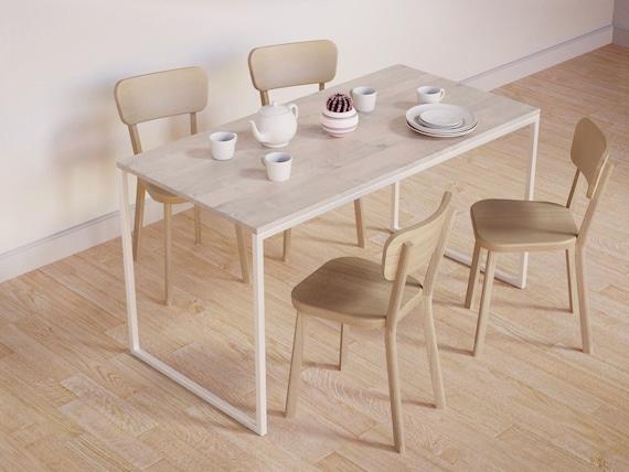 Modern Dining Table BASIC FEM II Xxcm Bleached Wood Etsy - Bleached wood dining table